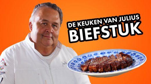 Met een paar simpele handelingen en een roestvrijstalen pan maakt chefkok Julius Jaspers in deze aflevering van De Keuken van Julius een heerlijke biefstuk.